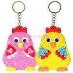 Foam Clay Rooster Twins Keychain Kit