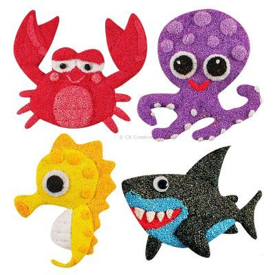 Foam Clay Magnet Kit - Crab, Octopus, Seahorse, Shark