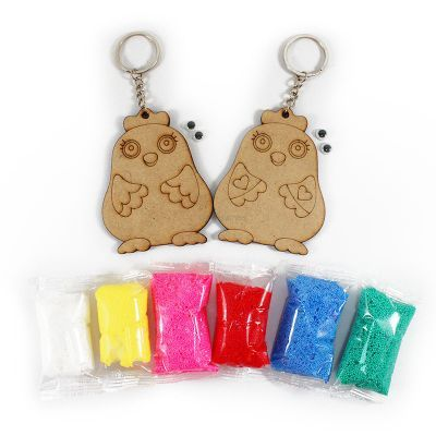 Foam Clay Rooster Twins Keychain Kit - Content