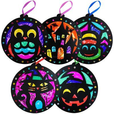 Stained Glass Halloween Hanging Deco Pack of 5