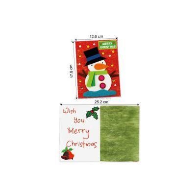Felt Christmas Snowman Greeting Card - Size
