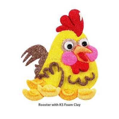 Rooster Colouring Board with KS Foam Clay