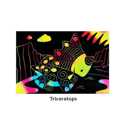 Tangle Scratch Art - Awesome Dino Kit - Triceratop