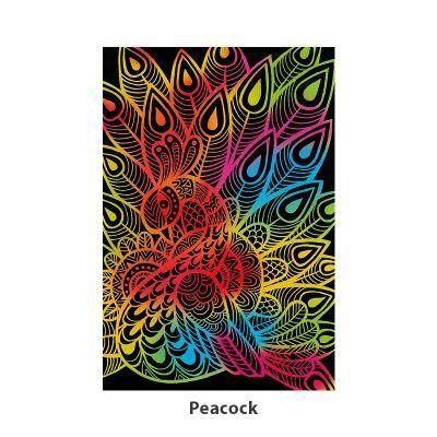 Tangle Scratch Art - Fabulous Bird Kit - Peacock