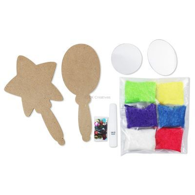 Foam Clay Hand Mirror Kit - Flower and Heart/Oval and Star - Contents