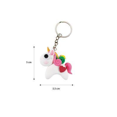 Unicorn Friends Clay Keychain Size