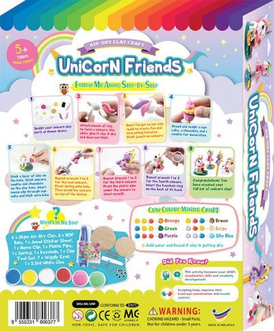 Unicorn Friends Clay Box Kit - 4-in-1 - Packaging Back