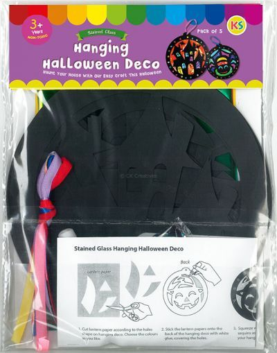 Stained Glass Halloween Hanging Deco Pack of 5 - Packaging Back