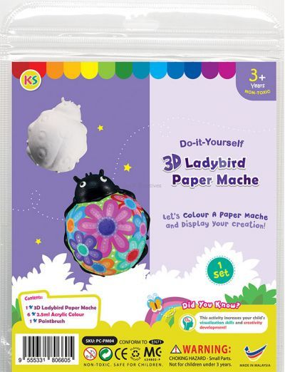 3D Animal Paper Mache Painting Kit - Ladybird