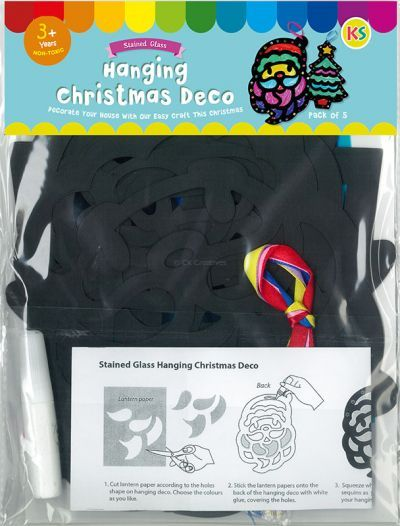 Stained Glass Christmas Hanging Deco Pack of 5 - Packaging Back