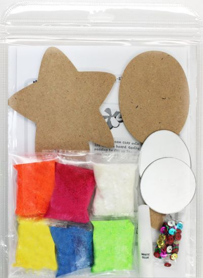 Foam Clay Hand Mirror Kit - Flower and Heart/Oval and Star - Packaging Back