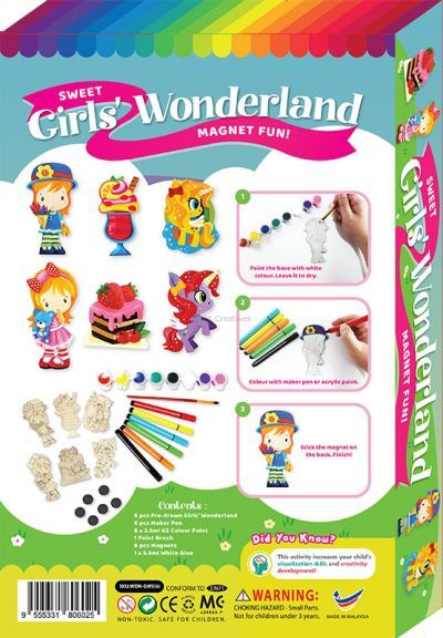 Sweet Girls' Wonderland Magnet Fun Box Kit - 6-in-1 - Packaging Back