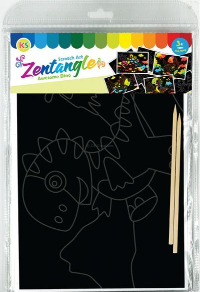 Tangle Scratch Art - Awesome Dino Kit - Packaging Back