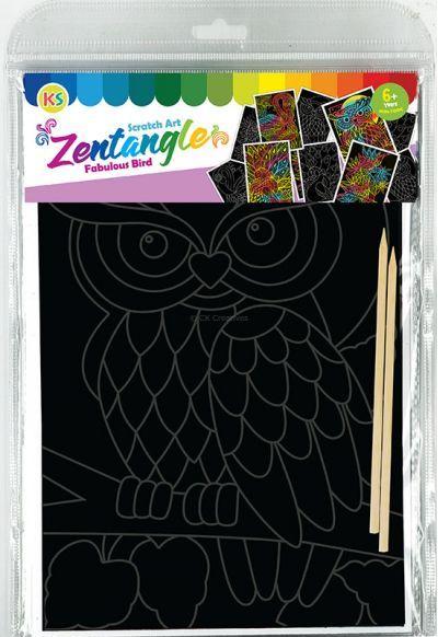 Tangle Scratch Art - Fabulous Bird Kit - Packaging Back