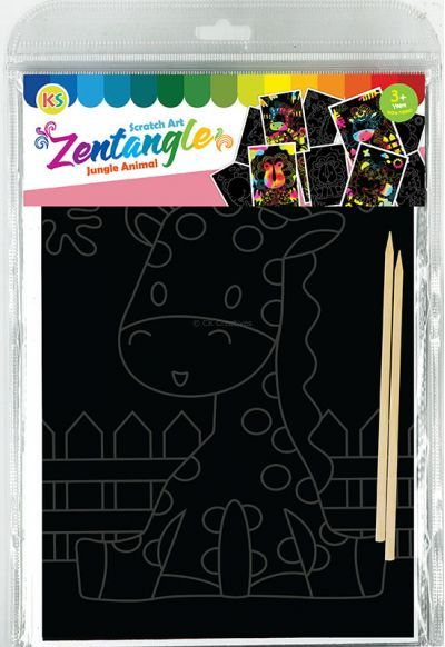 Tangle Scratch Art - Jungle Animal Kit - Packaging Back