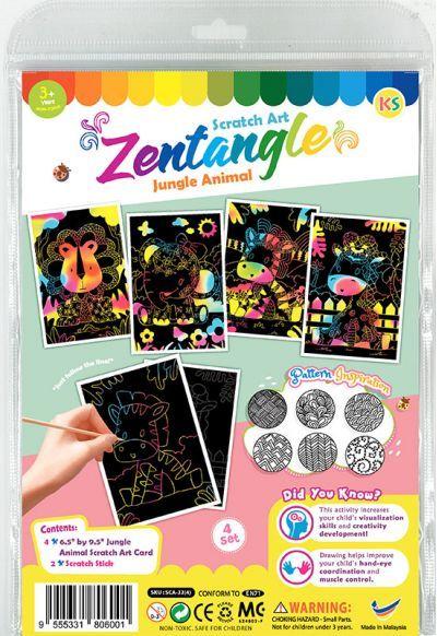 Tangle Scratch Art - Jungle Animal Kit