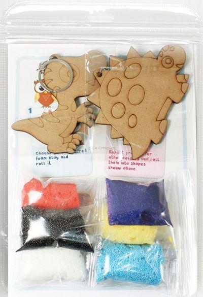 Foam Clay 2-in-1 Dinosaur Keychain Kit - Packaging Back