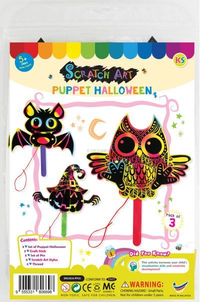 Scratch Art Halloween Puppet - Pack of 3