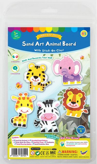5-in-1 Sand Art Animal Board Kit - Packaging Front