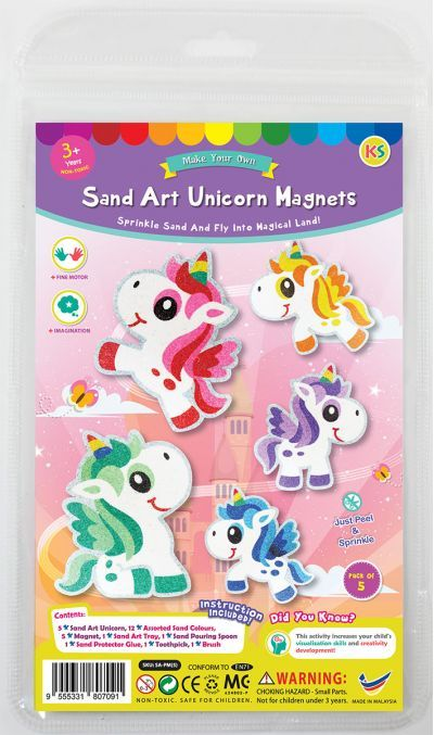 5-in-1 Unicorn Sand Art Magnet Kit - Packaging Front